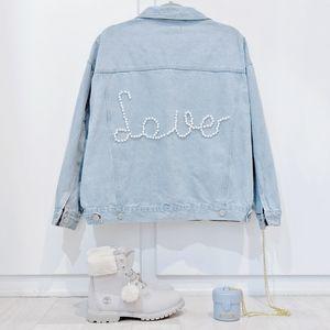 Jackets & Blazers - Pearl Embellished LOVE denim jean blogger jacket